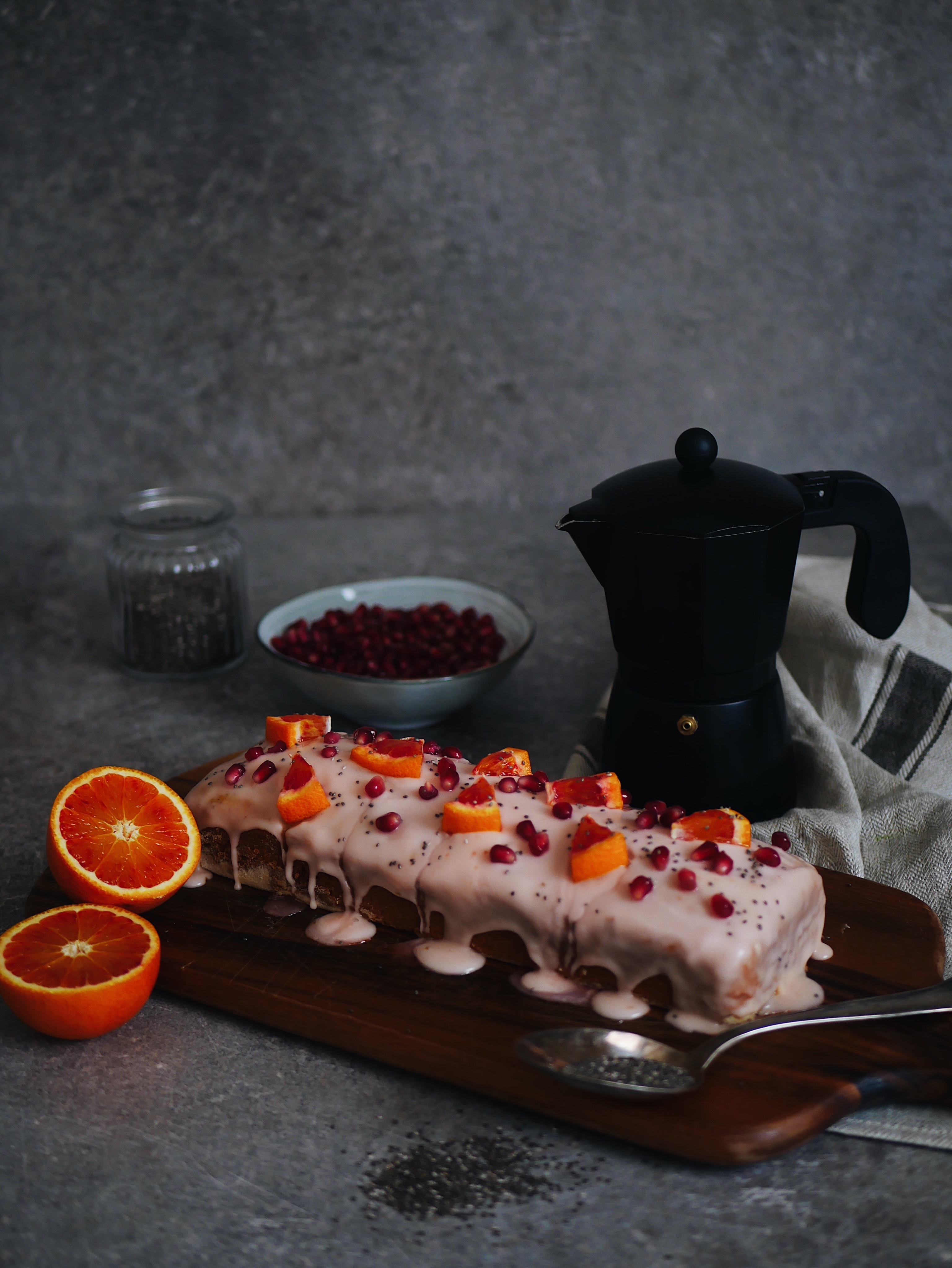 Blutorange Chiasamen Kuchen Mit Granatapfelkernen Laura Herz